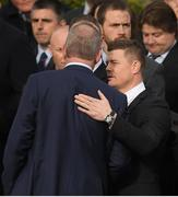 21 October 2016; Brian O'Driscoll, who captained Leinster, Ireland and the British and Irish Lions, consoles Mick Galwey outside St. Flannan's Church, Killaloe, Co Clare, before the funeral of Munster Rugby head coach Anthony Foley. The Shannon club man, with whom he won 5 All Ireland League titles, played 202 times for Munster and was capped for Ireland 62 times, died suddenly in Paris on November 16, 2016 at the age of 42. Photo by Brendan Moran/Sportsfile