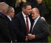 21 October 2016; Former Munster, Queensland Reds and Ireland player Peter Clohessy, right, is comforted by fellow mourners as he arrives for the funeral of Munster Rugby head coach Anthony Foley at the St. Flannan's Church, Killaloe, Co Clare. The Shannon club man, with whom he won 5 All Ireland League titles, played 202 times for Munster and was capped for Ireland 62 times, died suddenly in Paris on November 16, 2016 at the age of 42. Photo by Stephen McCarthy/Sportsfile