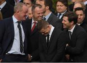 21 October 2016; Mick Galwey, John O'Neill, Brian O'Driscoll and Liam Toland arrive for the funeral of Munster Rugby head coach Anthony Foley at the St. Flannan's Church, Killaloe, Co Clare. The Shannon club man, with whom he won 5 All Ireland League titles, played 202 times for Munster and was capped for Ireland 62 times, died suddenly in Paris on November 16, 2016 at the age of 42. Photo by Brendan Moran/Sportsfile