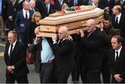 21 October 2016; Former Munster players, from left, Peter Clohessy, Keith Wood, John Hayes and Munster captain Peter O'Mahony carry the coffin of Munster Rugby head coach Anthony Foley leaves the St. Flannan's Church, Killaloe, Co Clare. The Shannon club man, with whom he won 5 All Ireland League titles, played 202 times for Munster and was capped for Ireland 62 times, died suddenly in Paris on November 16, 2016 at the age of 42. Photo by Stephen McCarthy/Sportsfile