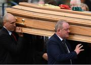 21 October 2016; Former Munster players John Langford and Mick Galwey carry the coffin of Munster Rugby head coach Anthony Foley leaves the St. Flannan's Church, Killaloe, Co Clare. The Shannon club man, with whom he won 5 All Ireland League titles, played 202 times for Munster and was capped for Ireland 62 times, died suddenly in Paris on November 16, 2016 at the age of 42. Photo by Stephen McCarthy/Sportsfile