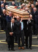 21 October 2016; Former Munster players, from left, John Langford, Mick Galwey, Peter Clohessy and Keith Wood carry the coffin of Munster Rugby head coach Anthony Foley at the St. Flannan's Church, Killaloe, Co Clare. The Shannon club man, with whom he won 5 All Ireland League titles, played 202 times for Munster and was capped for Ireland 62 times, died suddenly in Paris on November 16, 2016 at the age of 42. Photo by Brendan Moran/Sportsfile