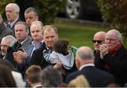 21 October 2016; Former Ireland players Hugo MacNeill, third from right, and Ollie Campbell, right, arrive for the funeral of Munster Rugby head coach Anthony Foley at the St. Flannan's Church, Killaloe, Co Clare. The Shannon club man, with whom he won 5 All Ireland League titles, played 202 times for Munster and was capped for Ireland 62 times, died suddenly in Paris on November 16, 2016 at the age of 42. Photo by Brendan Moran/Sportsfile
