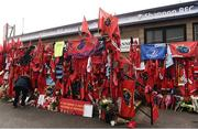 22 October 2016; A general view of Munster Rugby, Leinster Rugby and Connacht Rugby flags, scarves and flowers placed outside the Shannon RFC Club house in memory of the late Munster Rugby head coach Anthony Foley before the European Rugby Champions Cup Pool 1 Round 2 match between Munster and Glasgow Warriors at Thomond Park in Limerick. The Shannon club man, with whom he won 5 All Ireland League titles, played 202 times for Munster and was capped for Ireland 62 times, died suddenly in Paris on November 16, 2016 at the age of 42. Photo by Brendan Moran/Sportsfile