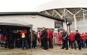 22 October 2016; Supporters queue to sign a 'Condolence book' in memory of the late Munster Rugby head coach Anthony Foley before the European Rugby Champions Cup Pool 1 Round 2 match between Munster and Glasgow Warriors at Thomond Park in Limerick. The Shannon club man, with whom he won 5 All Ireland League titles, played 202 times for Munster and was capped for Ireland 62 times, died suddenly in Paris on November 16, 2016 at the age of 42. Photo Brendan Moran/Sportsfile
