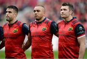 22 October 2016; Munster players Conor Murray, left, Simon Zebo, centre, and captain Peter O'Mahony of Munster observe a minute's silence in memory of Munster head coach Anthony Foley before the European Rugby Champions Cup Pool 1 Round 2 match between Munster and Glasgow Warriors at Thomond Park in Limerick. Photo by Seb Daly/Sportsfile