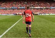 22 October 2016; CJ Stander of Munster wearing shirt number 24, after number 8 was retired for the match as a tribute to former Munster head coach Anthony Foley, makes his way off the field following the European Rugby Champions Cup Pool 1 Round 2 match between Munster and Glasgow Warriors at Thomond Park in Limerick. Photo by Seb Daly/Sportsfile