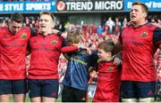 22 October 2016; The sons of the late Munster Rugby head coach Anthony Foley, Tony and Dan, along with Munster players, from left, Ronan O'Mahony, Rory Scannell, and CJ Stander, sing 'Stand Up and Fight' on the pitch after the European Rugby Champions Cup Pool 1 Round 2 match between Munster and Glasgow Warriors at Thomond Park in Limerick. The Shannon club man, with whom he won 5 All Ireland League titles, played 202 times for Munster and was capped for Ireland 62 times, died suddenly in Paris on November 16, 2016 at the age of 42. Photo by Brendan Moran/Sportsfile