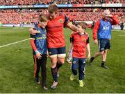 22 October 2016; The sons of the late Munster Rugby head coach Anthony Foley, Tony, left, and Dan, join CJ Stander, and the rest of the squad on the field to sing 'Stand Up and Fight' after the European Rugby Champions Cup Pool 1 Round 2 match between Munster and Glasgow Warriors at Thomond Park in Limerick. The Shannon club man, with whom he won 5 All Ireland League titles, played 202 times for Munster and was capped for Ireland 62 times, died suddenly in Paris on November 16, 2016 at the age of 42. Photo by Seb Daly/Sportsfile