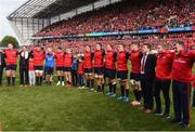 22 October 2016; Munster players and staff, along with Tony Foley and Dan Foley, sons of the late Munster Rugby head coach Anthony Foley, sing 'Stand Up and Fight' on the pitch after the European Rugby Champions Cup Pool 1 Round 2 match between Munster and Glasgow Warriors at Thomond Park in Limerick. Photo by Diarmuid Greene/Sportsfile