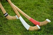 22 October 2016; A general view of shinty sticks at the 2016 Senior Hurling/Shinty International Series match between Ireland and Scotland at Bught Park in Inverness, Scotland. Photo by Piaras Ó Mídheach/Sportsfile