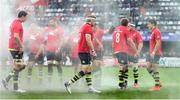 23 October 2016; Leinster players wear red tops in memory of the late Munster head coach Anthony Foley prior to the European Rugby Champions Cup Pool 4 Round 2 match between Leinster and Montpellier at Altrad Stadium in Montpellier, France. Photo by Stephen McCarthy/Sportsfile
