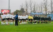 23 October 2016; Connacht and Zebre players stand for a moments silence in memory of the late Munster head coach Anthony Foley prior to the European Rugby Champions Cup Pool 2 Round 2 match between Zebre Rugby and Connacht Rugby at Stadio Lanfranchi in Parma. Photo by Roberto Bregani/Sportsfile
