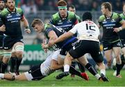 23 October 2016; Peter Robb of Connacht is tackled by Tommaso Castello and Giovanbattista Benvenuti of Zebre during the European Rugby Champions Cup Pool 2 Round 2 match between Zebre Rugby and Connacht Rugby at Stadio Lanfranchi in Parma. Photo by Roberto Bregani/Sportsfile
