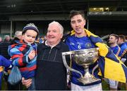 23 October 2016; Diarmaid Byrnes of Patrickswell celebrates with former Limerick manager Richie Bennis and his grandson Riain Bennis, aged 3, with the cup after the Limerick County Senior Club Hurling Championship Final between Ballybrown and Patrickswell at the Gaelic Grounds in Limerick. Photo by Diarmuid Greene/Sportsfile