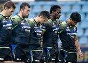 23 October 2016; The Connacht players observe a minutes silence in honour of the late Munster Head Coach Anthony Foley prior to the European Rugby Champions Cup Pool 2 Round 2 match between Zebre Rugby and Connacht Rugby at Stadio Lanfranchi in Parma. Photo by Roberto Bregani/Sportsfile