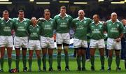 13 October 2001; Irish players, from left, Eric Miller, Anthony Foley, Peter Stringer, Mick Galwey, Malcolm O'Kelly, John Hayes, Peter Clohessy and Keith Wood stand for the Anthems before the start of the game against Wales. Wales v Ireland, Lloyds TSB Six Nations Championship, Millennium Stadium, Cardiff, Wales. Rugby. Picture credit; Matt Browne / SPORTSFILE *EDI*