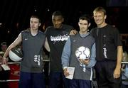 1 November 2001; Republic of Ireland striker Clinton Morrison and England and Spurs striker Teddy Sheringham pictured with freestyle winners, John Biggins, left, and Ian Denham at the Nike Freestyle event in the Point Theatre, Dublin. Soccer. Picture credit; Brendan Moran / SPORTSFILE *EDI*