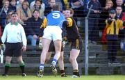 5 November 2001; John McDermott, Skryne, 9, comes to blows with Richie Kealy, Dunshauglin during the Dunshaughlin v Skyrne, Meath County Football Final, Navan, Co. Meath. Picture credit; Aoife Rice / SPORTSFILE