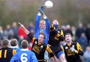 4 November 2001; Dunshaughlin's Graham Dowd goes up for a high ball against John McDermott, Skryne. Dunshaughlin v Skryne, Meath County Football Final, Navan, Co. Meath. Picture credit; Aoife Rice / SPORTSFILE