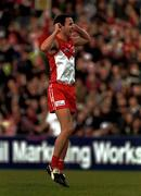 8 July 2001; Tadhg Kennelly, Sydney Swans celebrates the end of the game against Carlton.  Sydney Swans v Carlton, Australian Football League, Sydney Criket Ground, New South Wales, Australia. Picture Credit; Matt Browne / SPORTSFILE
