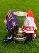 24 October 2016; A general view of the New Ireland Assurance Company Perpetual Challenge Cup with the jerseys of Kilmacud Crokes and Cuala at the Dublin Senior Hurling Championship Final Preview ahead of the final which takes place on Saturday 29th October at 3.00pm at Parnell Park in Dublin. Photo by Piaras Ó Mídheach/Sportsfile