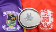 24 October 2016; A detailed view of the crests of Kilmacud Crokes and Cuala with a sliotar at the Dublin Senior Hurling Championship Final Preview ahead of the final which takes place on Saturday 29th October at 3.00pm at Parnell Park in Dublin. Photo by Piaras Ó Mídheach/Sportsfile