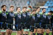23 October 2016; Connacht players observe a one minute silent in honour of the late Munster Head Coach Anthony Foley prior to the European Rugby Champions Cup Pool 2 Round 2 match between Zebre Rugby and Connacht Rugby at Stadio Lanfranchi in Parma. Photo by Roberto Bregani/Sportsfile