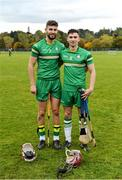 22 October 2016; Ireland's Paul Divilly, left, and Gerry Keegan, both from Kildare, after the 2016 Senior Hurling/Shinty International Series match between Ireland and Scotland at Bught Park in Inverness, Scotland. Photo by Piaras Ó Mídheach/Sportsfile