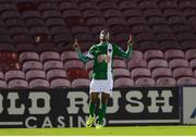 24 October 2016; Chiedozie Ogbene of Cork City celebrates after scoring his side's first goal during the SSE Airtricity League Premier Division match between  Cork City and Wexford Youths at Turners Cross in Cork. Photo by Eóin Noonan/Sportsfile
