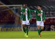 24 October 2016; Chiedozie Ogbene of Cork City is congratulated by Sean Maguire, right, after scoring his side's second goal during the SSE Airtricity League Premier Division match between Cork City and Wexford Youths at Turners Cross in Cork. Photo by Eóin Noonan/Sportsfile