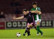 24 October 2016; John Bonner of Wexford Youths in action against Gavin Holohan of Cork City during the SSE Airtricity League Premier Division match between Cork City and Wexford Youths at Turners Cross in Cork. Photo by Eóin Noonan/Sportsfile