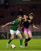 24 October 2016; Colin Healy of Cork City in action against Vincent Quinlin of Wexford Youths during the SSE Airtricity League Premier Division match between Cork City and Wexford Youths at Turners Cross in Cork. Photo by Eóin Noonan/Sportsfile