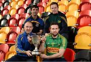 25 October 2016; In attendance during the AIB Leinster Club Championships 2016 Launch are, clockwise from left, Phillip Wallace of Gusserane O Rahilly, Co. Wexford, Gusserane O Rahilly manager Maurice Brown, Rhode manager Paschal Keellaghan and Paraic Sullivan of Rhode, Co. Offaly, at GAA's National Games Development Centre in Abbotstown, Co. Dublin Photo by Sam Barnes/Sportsfile