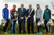 25 October 2016; In attendance during the AIB Leinster Club Championships 2016 Launch are from left, Paul Greville of Raharney, Co. Westmeath, Keith Rossiter of Oulart the Ballagh, Co. Wexford, John Horan, Chairman of Leinster Council, Michael Green, Sponsorship Manager AIB, Martin Kavannagh of St Mullins, Co. Carlow, and Brian Stapleton of Borris-Kilcotton, Co. Laois, at GAA's National Games Development Centre in Abbotstown, Co. Dublin Photo by Sam Barnes/Sportsfile