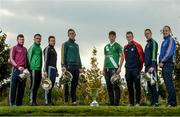 25 October 2016; In attendance during the AIB Leinster Club Championships 2016 Launch are from left, James McGiveny of St Columbas Mullinalaghta, Co. Longford, Jody Dillon of Stradbally, Co. Laois, Padraic Sullivan of Rhode, Co. Offaly, Conor Crawley of Sean O'Mahonys, Co. Louth, Shea Ryan of Sarsfields, Co. Kildare, Shane O'Neill of Palatine, Co. Carlow, Jason Kennedy of Baltinglass, Co. Wicklow, and Phillip Wallace of Gusserane O Rahilly, Co. Wexford, at GAA's National Games Development Centre in Abbotstown, Co. Dublin Photo by Sam Barnes/Sportsfile