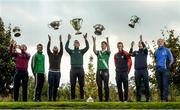 25 October 2016; In attendance during the AIB Leinster Club Championships 2016 Launch are from left, James McGiveny of St Columbas Mullinalaghta, Co. Longford, Jody Dillon of Stradbally, Co. Laois, Padraic Sullivan of Rhode, Co. Offaly, Conor Crawley of Sean O'Mahonys, Co. Louth, Shea Ryan of Sarsfields, Co. Kildare, Shane O'Neill of Palatine, Co. Carlow, Jason Kennedy of Baltinglass, Co. Wicklow and Phillip Wallace of Gusserane O Rahilly, Co. Wexford, at GAA's National Games Development Centre in Abbotstown, Co. Dublin Photo by Sam Barnes/Sportsfile