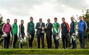 25 October 2016; In attendance during the AIB Leinster Club Championships 2016 Launch are from left, James McGiveny of St Columbas Mullinalaghta, Co. Longford, Jody Dillon of Stradbally, Co. Laois, Padraic Sullivan of Rhode, Co. Offaly, Conor Crawley of Sean O'Mahonys, Co. Louth, John Horan, Chairman of Leinster Council, Micheal Green, Sponsorship Manager AIB, Shea Ryan of Sarsfields, Co. Kildare, Shane O'Neill of Palatine, Co. Carlow, Jason Kennedy of Baltinglass, Co. Wicklow, and Phillip Wallace of Gusserane O Rahilly, Co. Wexford, at GAA's National Games Development Centre in Abbotstown, Co. Dublin Photo by Sam Barnes/Sportsfile