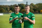 22 October 2016; Ireland's Seán Whelan, left, and Dion Wall with the cup after the 2016 U21 Hurling/Shinty International Series match between Ireland and Scotland at Bught Park in Inverness, Scotland. Photo by Piaras Ó Mídheach/Sportsfile