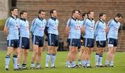 13 March 2011; Dublin players, from left to right, Diarmuid Connolly, Kevin McManamon, Paul Casey, Denis Bastick, Barry Cahill, Michael Daragh McAuley, Paul Flynn, Bernard Brogan and Declan Lally stand for the National Anthem. Allianz Football League, Division 1, Round 4, Monaghan v Dublin, St Tiernach's Park, Clones, Co. Monaghan. Picture credit: Oliver McVeigh / SPORTSFILE