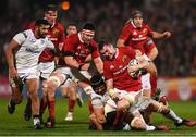 28 October 2016; Peter O'Mahony of Munster is tackled by Dan Tuohy of Ulster during the Guinness PRO12 Round 7 match between Ulster and Munster at Kingspan Stadium, Ravenhill Park in Belfast. Photo by Ramsey Cardy/Sportsfile