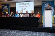 29 October 2016; A Q&A session led by Damian Lawlor included, from left, Wexford camogie player Kate Kelly, Mayo footballer Cora Staunton, Galway hurler Conor Cooney, Roscommon footballer Diarmuid Murtagh, Senior Intercounty Football Referee David Gough, Roscommon football manager and addiction counselor Justin Campbell, Armagh's Oisin McConville, and Armagh senior football strength and conditioning coach Julie Davis, during the GAA Youth Forum 2016 at Croke Park in Dublin. Photo by Cody Glenn/Sportsfile