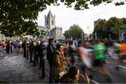30 October 2016; Runners pass Christchurch Cathedral during the SSE Airtricity Dublin Marathon 2016 in Dublin City. 19,500 runners took to the Fitzwilliam Square start line to participate in the 37th running of the SSE Airtricity Dublin Marathon, making it the fourth largest marathon in Europe. Photo by Ramsey Cardy/Sportsfile