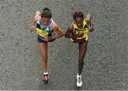 30 October 2016; Ehite Bizuayehu Gebireyes from Ethiopia, left, Helalia Johannes from Nambia lead the women's race during the SSE Airtricity Dublin Marathon 2016 on the Stillorgan Road approaching UCD. 19,500 runners took to the Fitzwilliam Square start line to participate in the 37th running of the SSE Airtricity Dublin Marathon, making it the fourth largest marathon in Europe. Photo by Piaras Ó Mídheach/Sportsfile