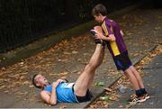 30 October 2016; Danny Costello, age 10, with Declan Costello, both from Ramsgrange, Co Wexford, after competing in the SSE Airtricity Dublin Marathon 2016 at Merrion Square in Dublin City. 19,500 runners took to the Fitzwilliam Square start line to participate in the 37th running of the SSE Airtricity Dublin Marathon, making it the fourth largest marathon in Europe. Photo by Stephen McCarthy/Sportsfile