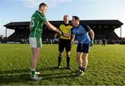30 October 2016; Referee Cormac Reilly is joined by captains Bryan Menton of Donaghmore/Ashbourne, left, and Joe Lyons of Simonstown Gaels, right, for the coin toss ahead of the Meath County Senior Club Football Championship Final game between Donaghmore/Ashbourne and Simonstown at Pairc Táilteann in Navan, Co. Meath. Photo by Seb Daly/Sportsfile
