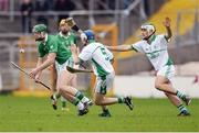 30 October 2016; Henry Shefflin of Ballyhale Shamrocks in action against Alan O'Brien and Paddy Deegan, right, of O'Loughlin Gaels during the Kilkenny County Senior Club Hurling Championship Final game between Ballyhale Shamrocks and O'Loughlin Gaels at Nowlan Park in Kilkenny. Photo by Piaras Ó Mídheach/Sportsfile