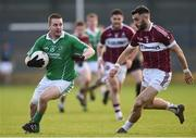 30 October 2016; Colm Kelly of Stradbally in action against of Simon Cadam St Columbas Mullinalaghta during the AIB Leinster GAA Football Senior Club Championship first round game between St Columbas Mullinalaghta and Stradbally at Glennon Brothers Pearse Park in Longford. Photo by David Maher/Sportsfile
