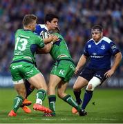 29 October 2016; Joey Carbery of Leinster is tackled by Peter Robb, left, and Craig Ronaldson of Connacht during the Guinness PRO12 Round 7 match between Leinster and Connacht at the RDS Arena, Ballsbridge, in Dublin. Photo by Ramsey Cardy/Sportsfile