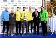 30 October 2016; Winner of the Men's Irish National Marathon Championship Sergie Ciobanu of Clonliffe Harriers AC, with second place Sean Hehir of Rathfarnham WSAF A.C., left, and third place Mark Kirwan, right, in the company of race Director Jim Aughney, Atheltics Ireland President Georgina Drumm, Harry Gorman and Ronan Brady, Head of Marketing SSE Airtricity following the SSE Airtricity Dublin Marathon 2016 in Dublin City. 19,500 runners took to the Fitzwilliam Square start line to participate in the 37th running of the SSE Airtricity Dublin Marathon, making it the fourth largest marathon in Europe. Photo by Stephen McCarthy/Sportsfile